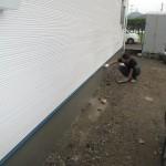 岐阜市 2世帯住宅新築工事 左官工事・外構工事 基礎巾木補修・勝手口/B様邸